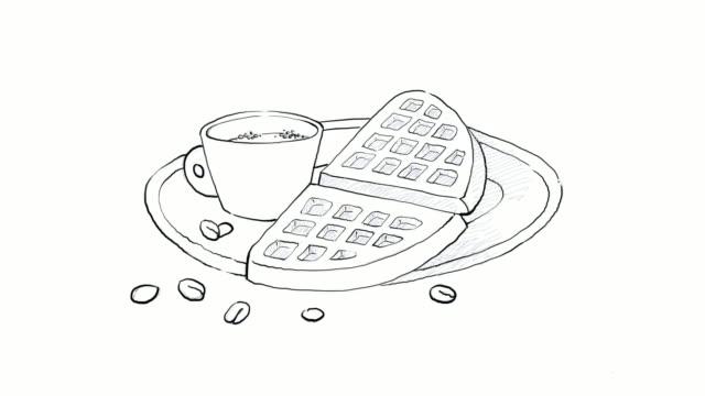 vídeos y material grabado en eventos de stock de mano alzada de café caliente con waffles video clip - waffles belgas