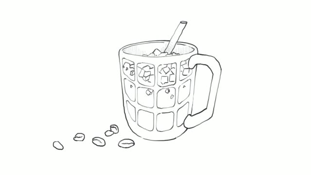 hand drawn of iced coffee and tea video clip - coffee drink stock videos & royalty-free footage