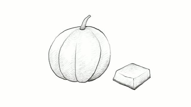 vidéos et rushes de dessinés du clip vidéo de fruits melon brodé à la main - pince à papier