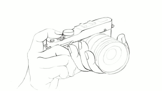 hand drawn of photographer holding camera video clip - polaroid camera stock videos & royalty-free footage