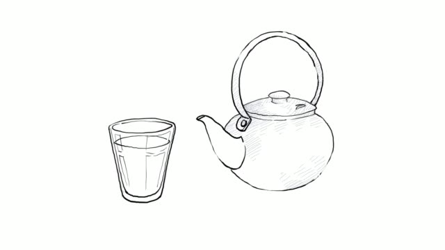 hand drawn of pot and tea bag video clip - dried tea leaves stock videos & royalty-free footage
