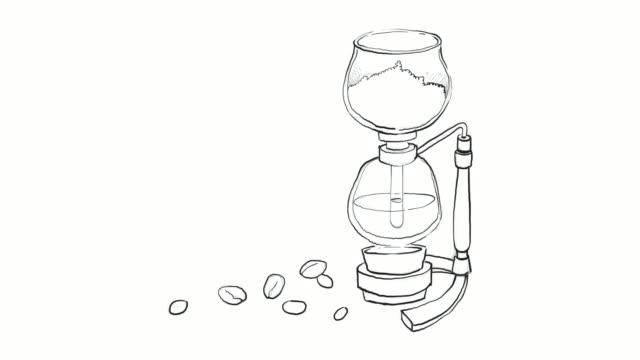 手描きのサイフォン コーヒー メーカー ビデオ クリップ - 密閉点の映像素材/bロール
