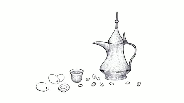 hand drawn of traditional turkish coffee pot video clip - line art stock videos & royalty-free footage