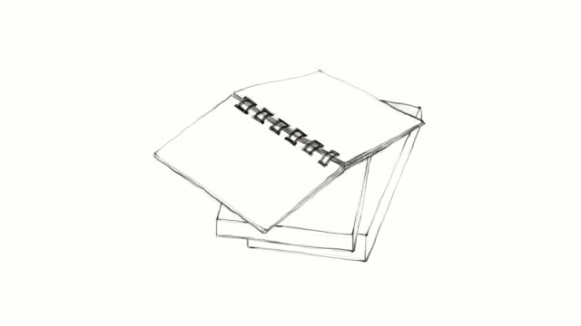 hand drawn open notebook on stack of books video clip - stack stock videos & royalty-free footage