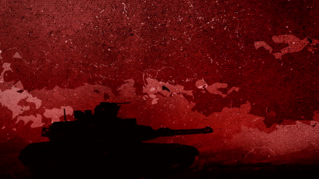 hand drawn silhouette of a war tank is moving in the rough battlefield, slow downs and stops in the centre of the screen for a while in front of the red sky, dawn with the moving clouds hand drawing animation 4k looped video - military land vehicle stock videos & royalty-free footage