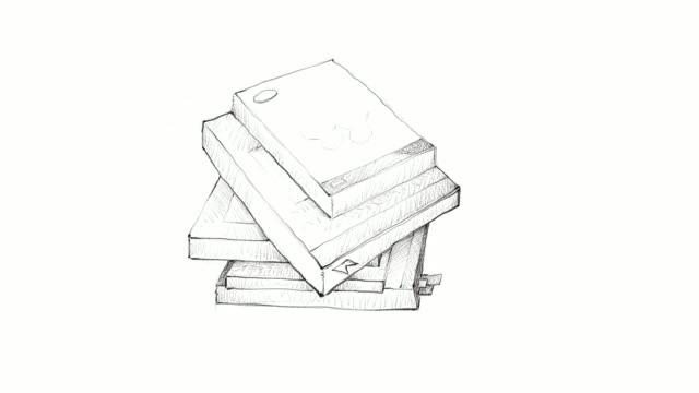 handgezeichnete stapel bücher-video-clip - klammer stock-videos und b-roll-filmmaterial