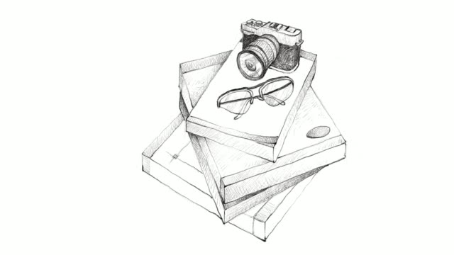 hand drawn stack of books with camera and glasses - polaroid video stock e b–roll