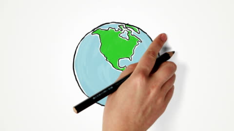 hand draws and turns earth globe - spinning stock videos & royalty-free footage
