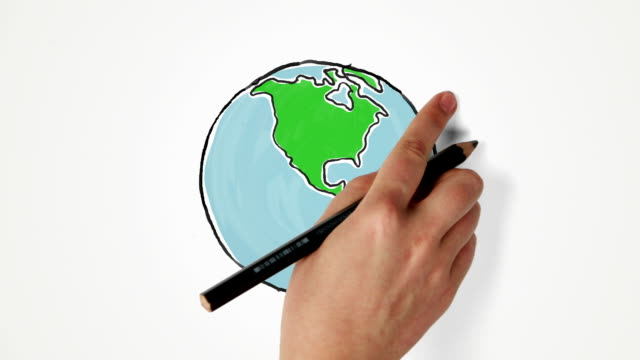 Hand draws and turns Earth globe