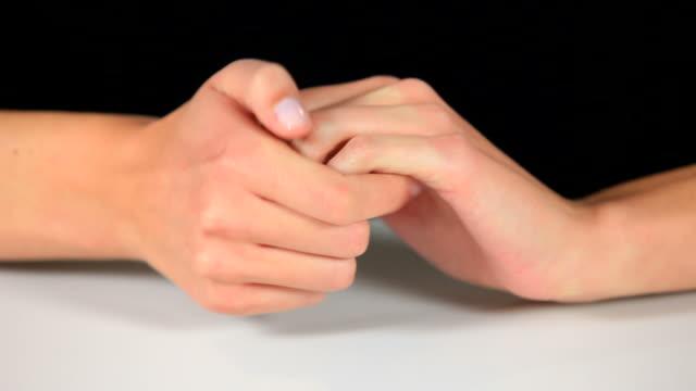 vídeos de stock, filmes e b-roll de cu hand gestures / saarburg, rhineland palatinate, germany - mãos juntas