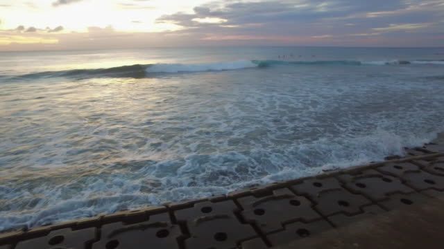POV, Hand held shot of walking by the ocean at sunset.