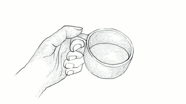 手カップ ホット コーヒー動画 - カフェイン分子点の映像素材/bロール