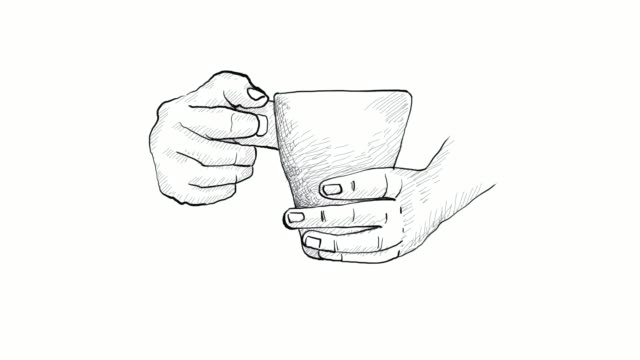 hand holding a cup hot coffee video clip - sketch stock videos & royalty-free footage