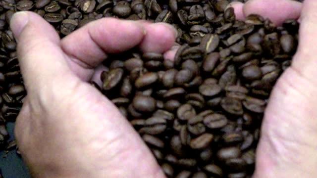 手コーヒー - スローモーション - コーヒー豆点の映像素材/bロール