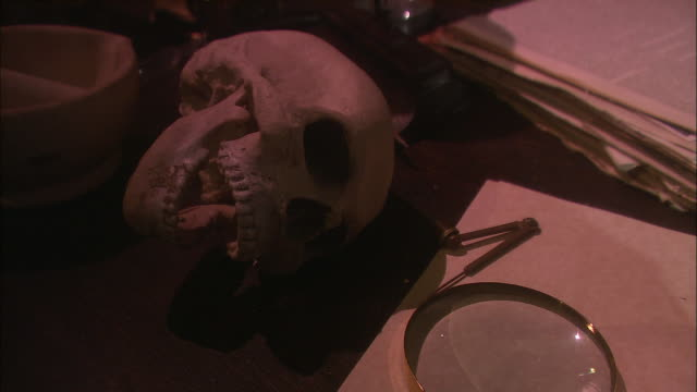 a hand holds a magnifying glass over a human skull. - examining stock videos & royalty-free footage
