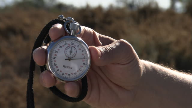 a hand holds a stopwatch. - stoppuhr stock-videos und b-roll-filmmaterial