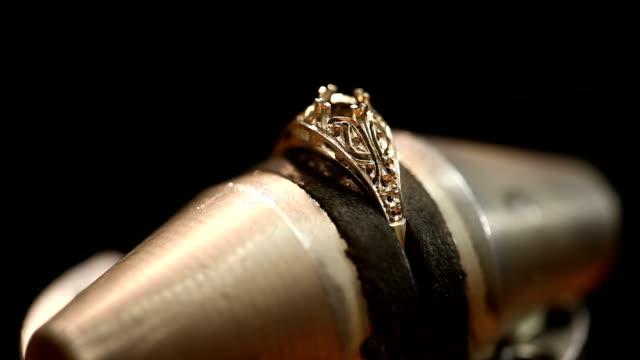 Hand made ring. Inside jeweller workshop