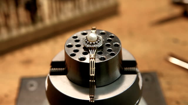 hand made ring with pearl. finishing touches - pearl jewellery stock videos & royalty-free footage