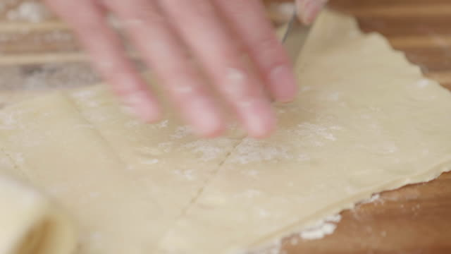 hand make croissant on wooden board - croissant stock videos & royalty-free footage