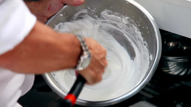 hand making cream recipe - whipped cream stock videos & royalty-free footage