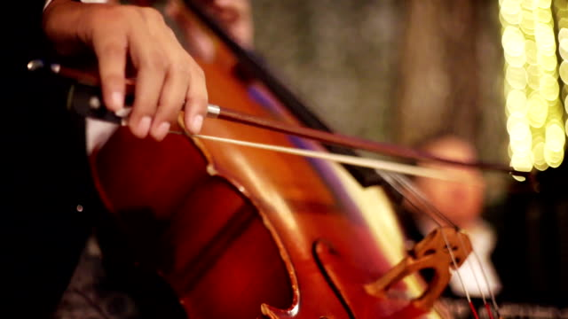 hand of cellist plays on cello at the wedding party. - musical instrument stock videos & royalty-free footage
