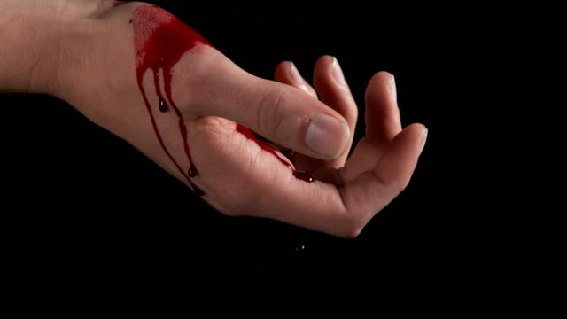 hand of woman and blood for suicide, real time 4k - stained stock videos & royalty-free footage