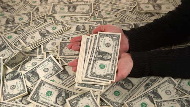 Hand of Woman and Dollar Bank Notes, Slow motion 4K