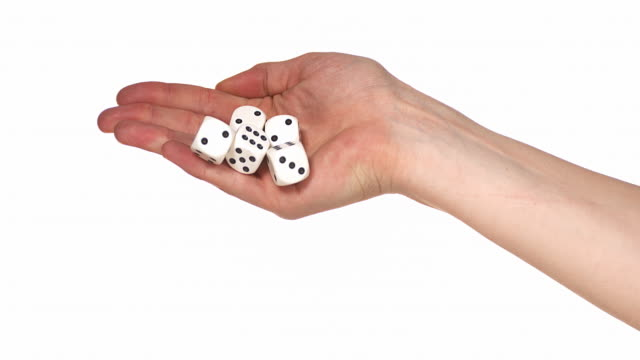 hand of woman throwing dice against white background, slow motion 4k - five objects stock videos & royalty-free footage
