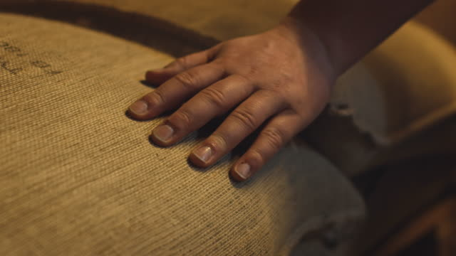 hand of worker touching coffee bean bag in factory - sack stock videos & royalty-free footage