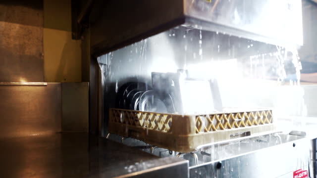 hand opening the dishwasher machine after cleaning process. - lavastoviglie video stock e b–roll