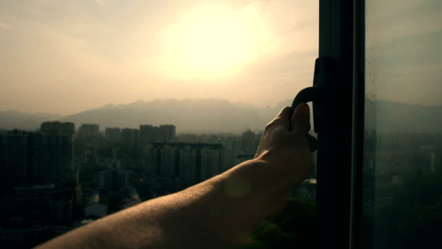 hand opening window,touching sunlight - catching stock videos & royalty-free footage
