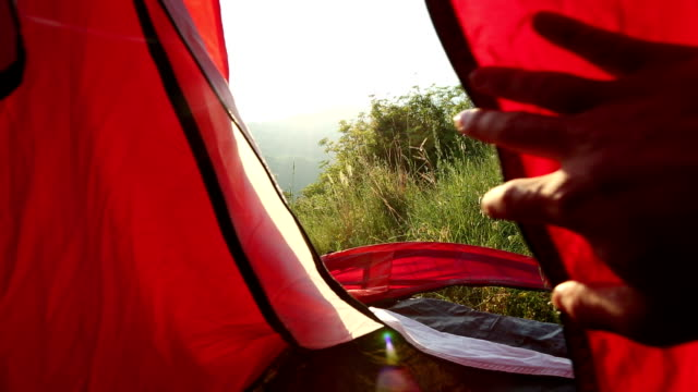 hand opens up tent flap to peer outside into meadow, sunrise - tent stock videos and b-roll footage