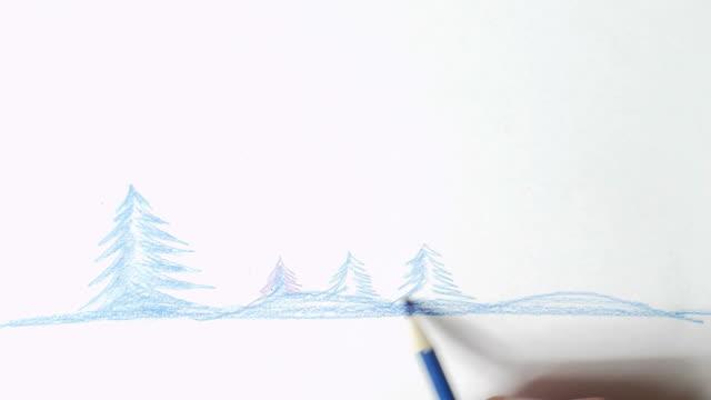 handbemalte christmas tree - handcoloriert stock-videos und b-roll-filmmaterial