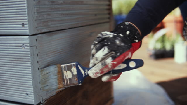 hand painting diy flower pot outdoor. - diy stock videos & royalty-free footage