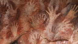 Hand Paintings at the Cave of Hands aka Cueva de Las Manos in Santa Cruz Province, Patagonia, Argentina