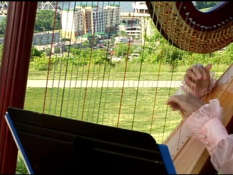 vídeos y material grabado en eventos de stock de mano playing the harp - menos de diez segundos