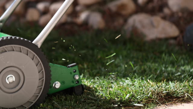 hand powered lawn mower - lawn stock videos & royalty-free footage