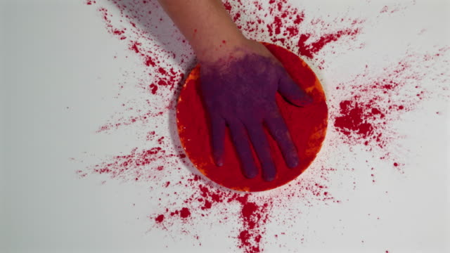 a hand purple from one side and red from the other during holi - other stock videos & royalty-free footage