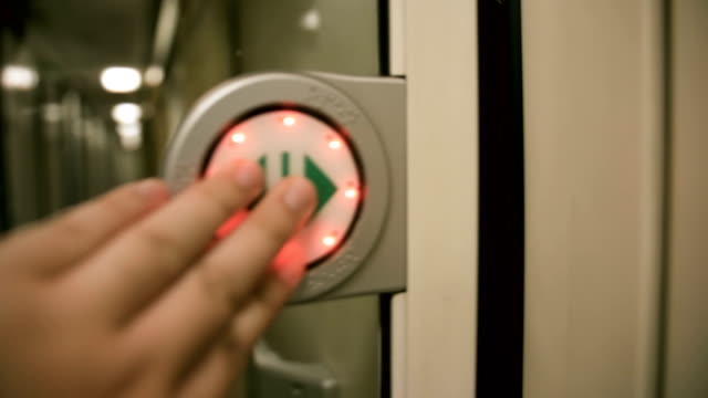 POV : Hand push button automatic door on the train