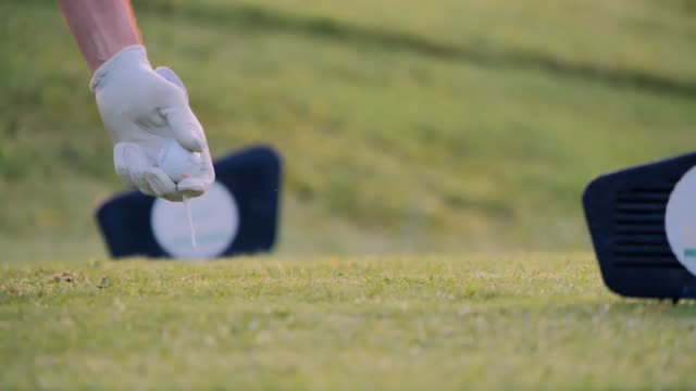vidéos et rushes de main mettant la balle de golf sur le tee dans le terrain de golf. sports cinemagraphs - tee de golf