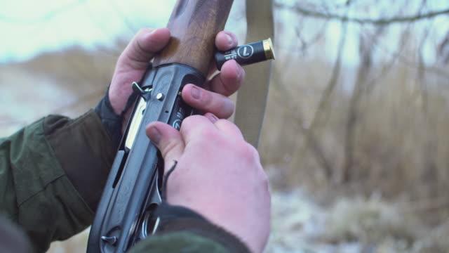 hand reloading shotgun shells take aim - hunting stock videos & royalty-free footage