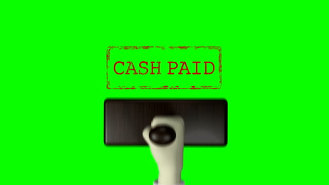 "3d hand rubber stamp ""cash paid"" green screen 4k resolution - postage stamp stock videos & royalty-free footage"