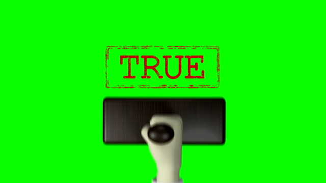 "3d hand rubber stamp ""true"" green screen 4k resolution - fake stock videos & royalty-free footage"