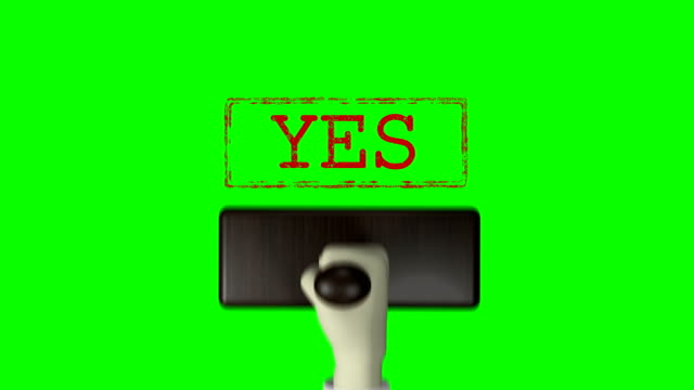 "3d hand rubber stamp ""yes"" green screen 4k resolution - postage stamp stock videos & royalty-free footage"