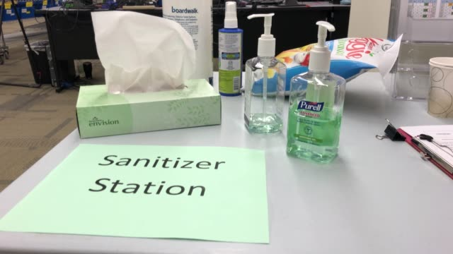 hand sanitizer for election workers awaits use at the king county elections ballot processing center on march 09 2020 in renton washington election... - voting ballot stock videos & royalty-free footage