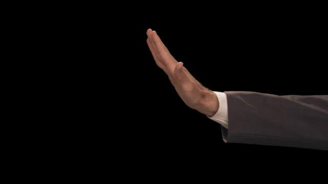 ms hand signals stop - completo da uomo video stock e b–roll