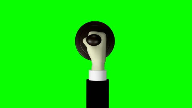 """vidéos et rushes de 3d hand stamping round shaped rubber stamp """"vip"""" green screen 4k résolution - première classe"""