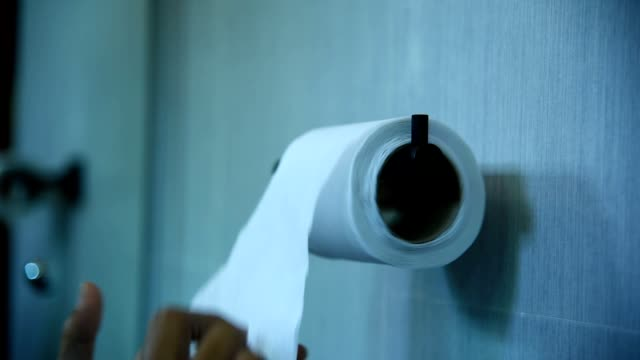 hand taking sheets of paper from a toilet roll - tipo di panino video stock e b–roll