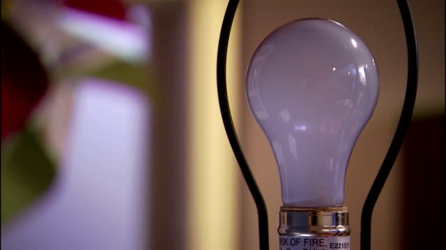 a hand turns on an incandescent light bulb. - electric lamp video stock e b–roll