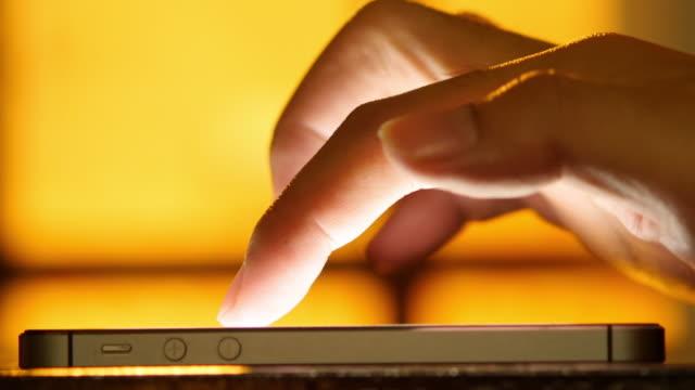 4K : Hand using Smart Phone Close-up